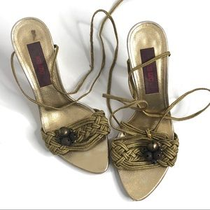 Kenzo Gold Metallic Ankle Wrap Heels 36.5